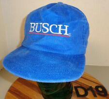 VINTAGE BUSCH BEER HAT BLUE CORDUROY SNAPBACK EMBROIDERED USA MADE GUC D19