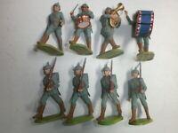 Konvolut 8 alte Elastolin Kunststoff Soldaten zu 7.5cm Preussen WK1 Marschzug