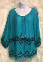 STYLUS Women's Shirt Turquoise Tunic Embroidered Boho Tasseled Sz M - EUC
