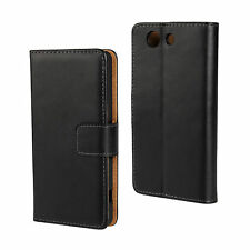 Black Genuine Leather Wallet Card Case Cover Stand for Sony Xperia Z3 Compact