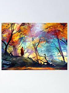 A Wolf in the Colorful Forest Poster - Poster Game - Poster Print