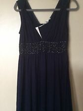 MONSOON BNWT Stunning FIONA Navy Embellished Jersey MAXI DRESS SIZE 10 £95