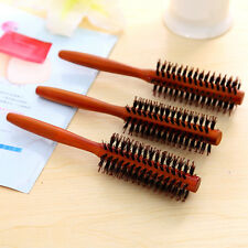 1 * Useful Round Wooden Handle Hairdressing Boar Bristle Curling Hair Comb Brush