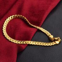 18K Gold Plated Flat Curb Chain Men's Bracelet Wristband Bangle Jewelry