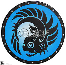 Round GREEK LANTERN FISH SHIELD - sca/larp/new/wooden/spartan/roman/viking/armor