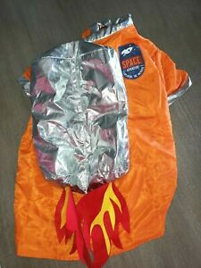 LARGE NEW DOG HALLOWEEN COSTUME SPACE SHIP ROCKET orange SILVER FLAMES cute!