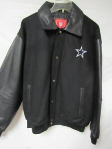 Dallas Cowboys Mens M Snap Up Wool Jacket with Leather Sleeves & Collar B1 161