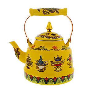 Enameled Steel Tibet Buddhist Ayurveda Symbols Teapot Kettle,pot, induction, gas