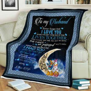Donal And Daisy To My Husband I Love You Gifts From Wife Fleece Blanket