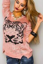Damen Lurex Strick Pulli Pullover Tiger Kopf S/M 34/36 L/XL 38/40 Oversize Top