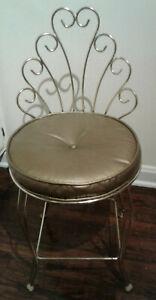 Vintage Mid Century Hollywood Recency Gold Metal Vanity Chair Stool Vinyl Seat