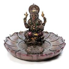 "GANESHA ROUND INCENSE BURNER 3.5"" Hindu Elephant God Resin Statue Ganesh Holder"