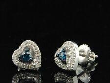 Azul Pendientes Corazón Diamantes 10K Oro Blanco Redondo Corte Pavé Amor 0.21