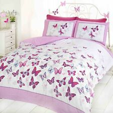BUTTERFLY FLUTTER PINK DOUBLE DUVET COVER SET NEW