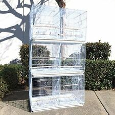 NEW Set of 3 Breeding Breeder Bird Carrier Cage With Central Divider White 594