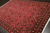 """6'7"""" x 9'9"""" Hand Knotted 100% Wool Yalameh Traditional Oriental Area Rug Red"""
