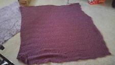 Hand knitted purple throw blanket, brand new