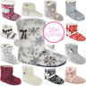 Womens Girls Slip On Warm Fleece Fur Lined Slipper Ankle Boots Booties Bootee