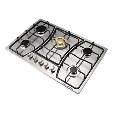 """30""""Gold Main Stove 5 Burners Stainless Steel Built In Gas Cooktop Ng / Lpg Hob"""