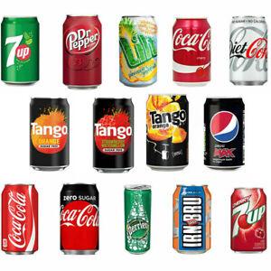 Lilt Fanta DrPepper Cherry Coke Pepsi Max Diet Coke Coca Cola Soda Cans 24x330ml