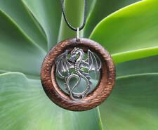 Dragon Pendant in Burnt Oak, mythological jewelry, recycled wood, unisex jewelry
