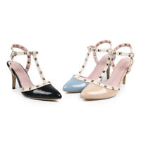 Women's Stud Synthetic Leather Slingback Pumps Pointed Shoes High-Heeled Sandals