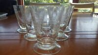 Vintage etched Juice Glasses Footed etched grape vine design 6  7 oz glasses