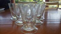 Vintage etched Juice Glasses Footed etched grape vine design 6  7 oz glasses