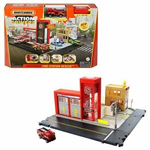 Matchbox Action Drivers Fire Station Rescue Playset with 164 Scale Firetruck ...