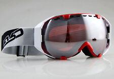 New listing Anti-Fog Chrome Mirror Double Lenses Snowboard Ski Snow Winter Goggles Red Frame