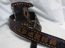 "Leather pickguard / strap  Custom Hand Tooled  Telecaster  ""Borders""  black"