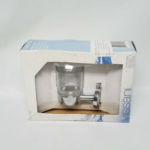 2 VISSANI Bathroom Clear Glass Tumbler With Wall Mount  Polished Chrome 724T
