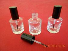 (3) NEW EMPTY CLEAR GLASS BOTTLES W/ BRUSH CAP 1/2OZ NAIL POLISH, ARTS & CRAFTS