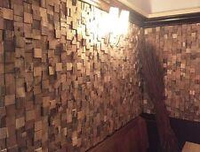 recycled Teak Holz Wandverkleidung Paneele Wandverblender Holzfliese natur 1qm