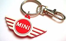 Mini Cooper S keyring JCW Classic - red or black rubber key chain charm 2-side