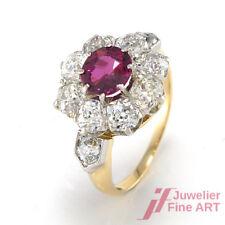 Ring 18K Weiß-/Gelbgold - Rubin ca. 1 ct + 10 Diamanten ca. 2,0 ct TW-SI - 4,7 g