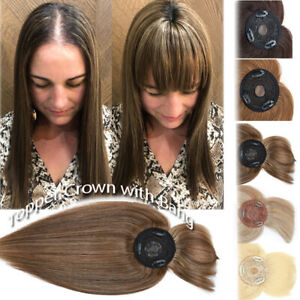 Women Topper Toupee Clip In Hairpiece Wig 100% Remy Human Hair Silk Base Caramel
