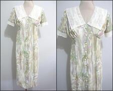 VINTAGE Womens Boho DRESS Size 10 FLORAL 70's Grunge Midi Dress Lace VTG S/S