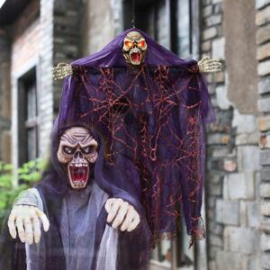 Halloween Figur Bewegung + LED Licht Geist Tod Skelett Deko