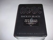 AC/DC Back in Black Tin Box Edition CD with Black T-Shirt Size L Collectors  NEW