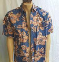 Cooke Street Honolulu Floral Hawaiian Shirt Aloha Friday Blue Orange Flowers  L
