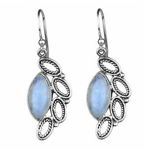 Rainbow moonstone gemstone 925 sterling silver dangle earrings 5.15 gms