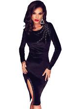 Vestito donna velluto maniche lunghe abito elegante spacco sera party DS61284