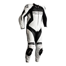 RST Tractech Evo 4 White/Black 1PC Motorbike Leather Racing Suit Race Hump