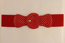 Women Belt Elastic Red Polka Dots Fashion Hip High Waist Round Buckle XS S M
