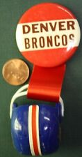 vintage Denver BRONCOS pinback BUTTON w/ ribbons & mini gumball football helmet