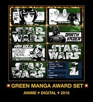 Topps Star Wars 7 CARD Trader Leia Luke Green Manga Anime SWCT insert Award set