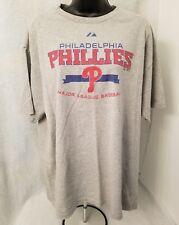 Majestic Mens Gray Red Blue Philadelphia Phillies T Shirt Size L