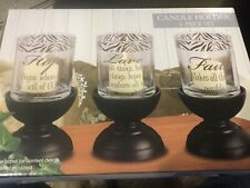 Always Home 6 Piece Candle Holder Set Faith,Hope,Love, Christian Religious