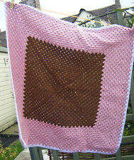 Vintage Retro Small Handmade Granny Knit Brown / Pink Baby Blanket  30'' x 30''
